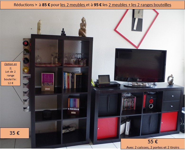 ensemble comprenant meubles ikea kalax accessoires tiroirs casiers with meuble range bouteille ikea. Black Bedroom Furniture Sets. Home Design Ideas